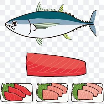 大眼金槍魚全身魚片生魚片