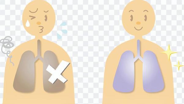人體圖畫_肺部健康和故障