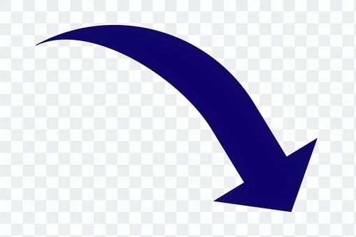 彎曲的箭頭海軍透明