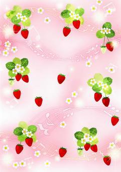 水彩風格草莓和音符閃光背景垂直
