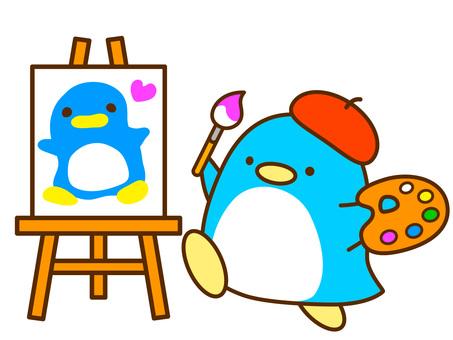 그림을 그리는 펭귄