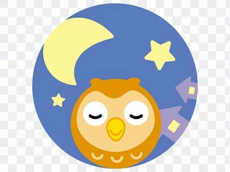 貓頭鷹和月光的圓形圖標