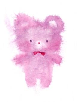 蓬鬆的紫色泰迪熊透明水彩手繪出血