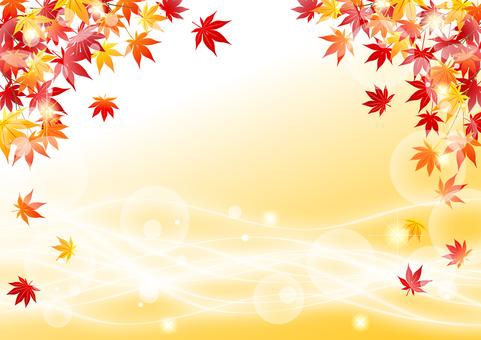 秋葉和流水水平的閃光背景