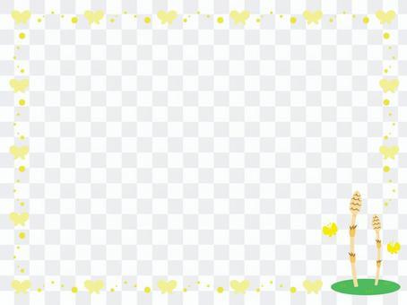 Tsukushi和蝴蝶的裝飾框架