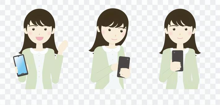 操作智能手機的年輕女子