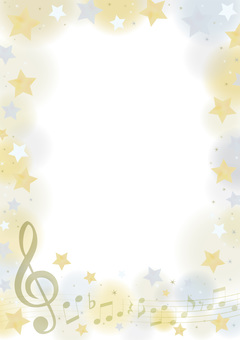 Elegant music vertical frame of gold & silver stars