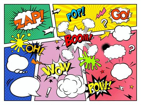 美國漫畫風格fukidashi和圖標集