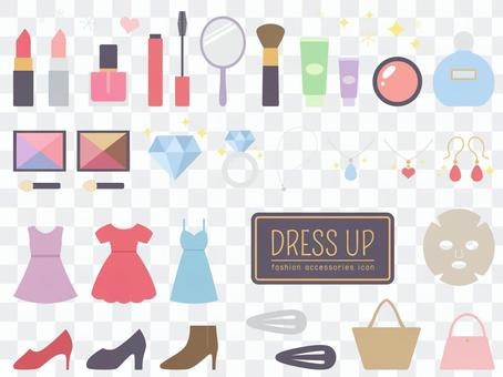 Set of cosmetics and trendy icons