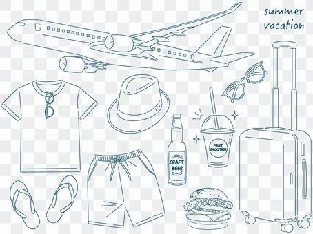夏季旅行藝術線條(一套)