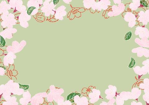 Sakura frame background matcha green