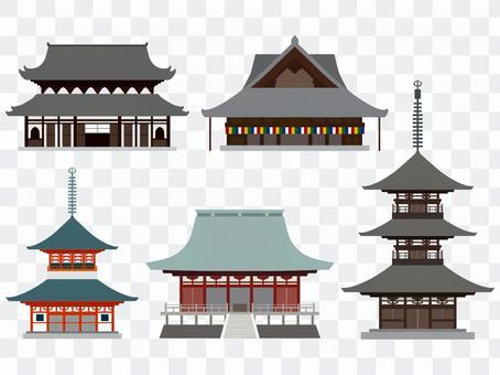 日本の寺のイラストセット