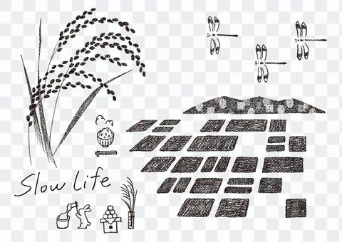 田園 風景 1 モノクロ