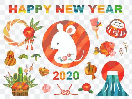 新年賀卡2020年兒童年圖標集