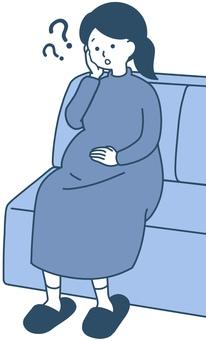 變得焦慮的孕婦 乾淨的設計