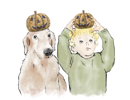 Dogs and toddlers with Halloween pumpkins on their heads