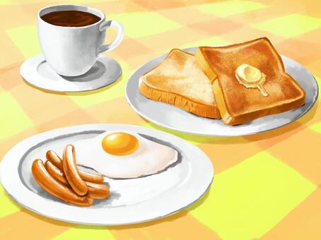 早餐插畫壁紙