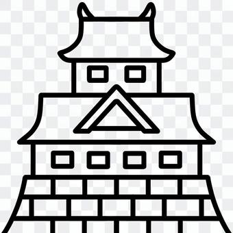 Japanese castle (line art)