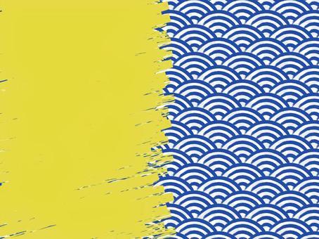 毛筆書寫青海波浪填充背景:右:靛藍x金