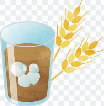 大麥茶和大麥水彩風格