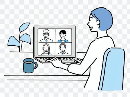 Women having a remote work meeting