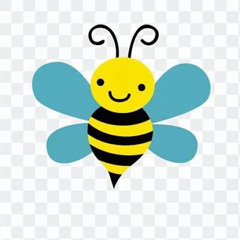 Bee spreading wings