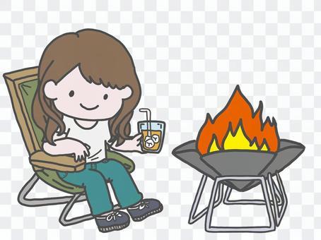 Women enjoying camping