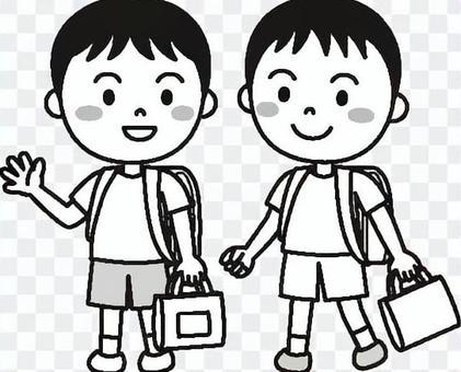 兒童男孩學校黑色和白色