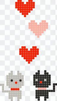 Animal pixel art cat and heart