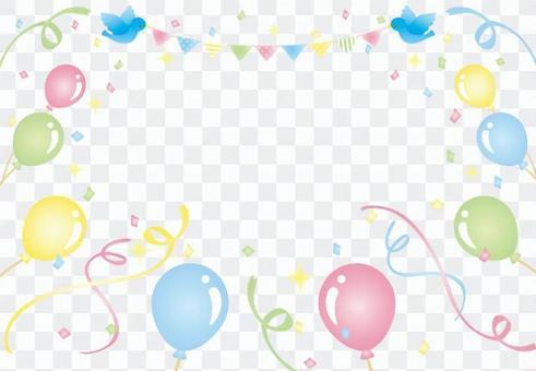 氣球和五彩紙屑,鳥和旗幟