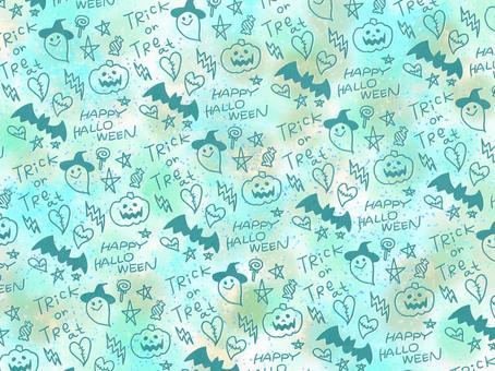 萬聖節線條藝術綠色壁紙