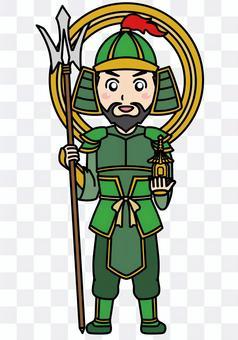 Illustration of Bishamonten of the Seven Lucky Gods