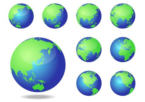 藍色和綠色環繞世界圖像地圖-地球