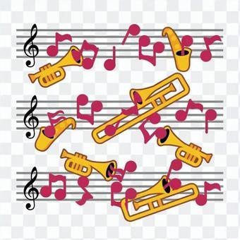 Music score and brass instrument