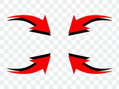 Red curved arrow set
