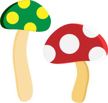 Mushroom 06 Green and Yellow Red and White