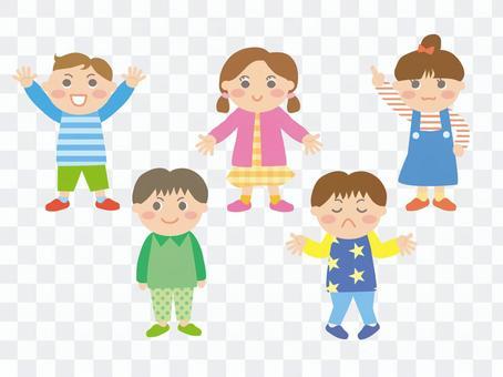 各種姿勢的孩子