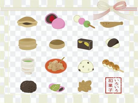日本糖果的各種插圖