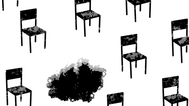 Chairs and pits, black and white, white background, transparent background