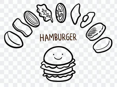 ゆる〜いハンバーガーのイラストセット