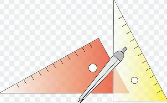 Triangular ruler and compass