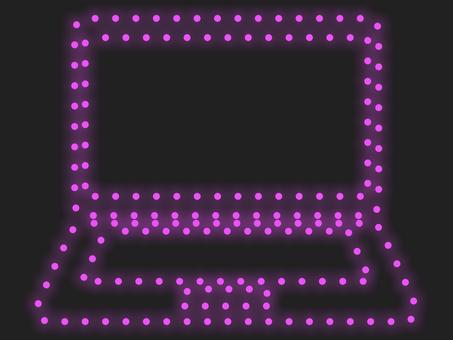 筆記本電腦照明圖標:粉紅色