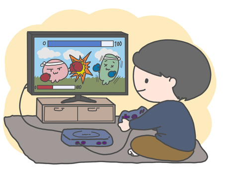 Boy playing a game (with color background)
