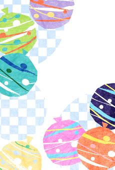 溜溜球和方格的夏季問候明信片垂直