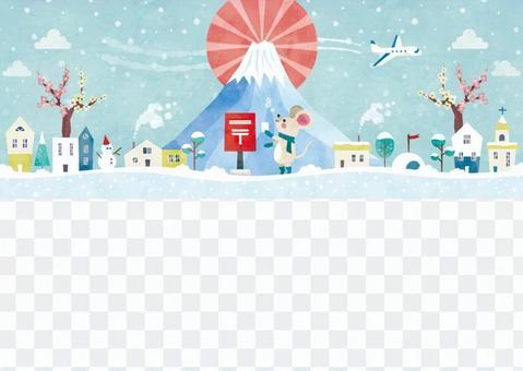 冬季背景架070新年鼠標水彩