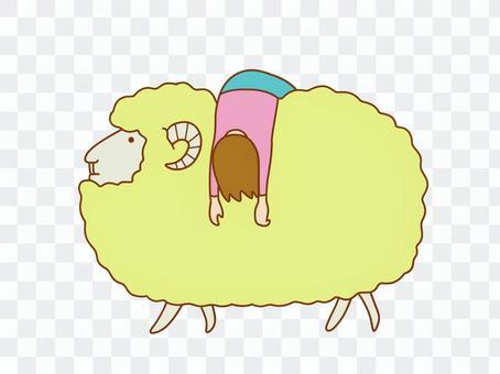 羊背著的女人