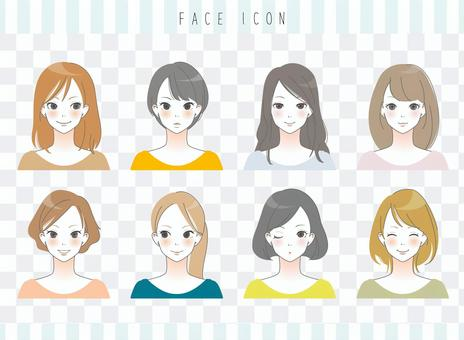 成年女性的脸图标
