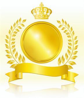 Crown frame frame background ribbon golden label round round leaves