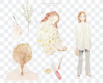 成年女孩春季服裝和頭髮化妝圖