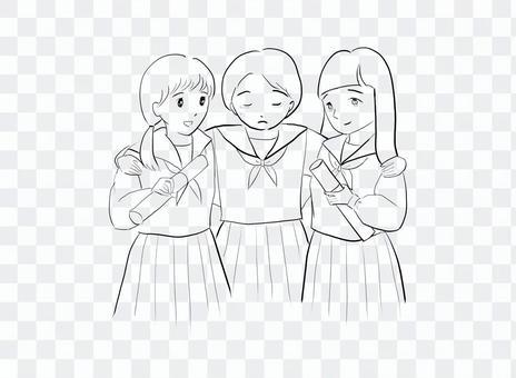 卒業する3人の女子高校生